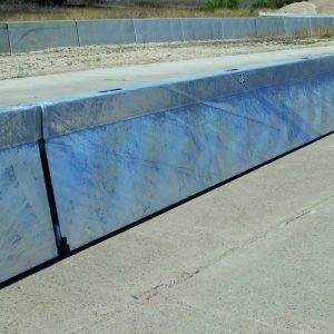 Blue water filled barriers