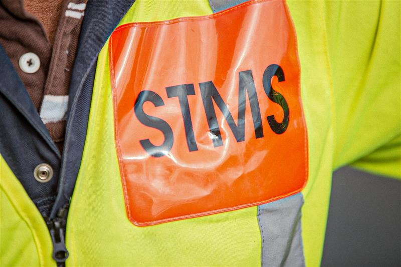 Photo of STMS Tag on a High visibility uniform